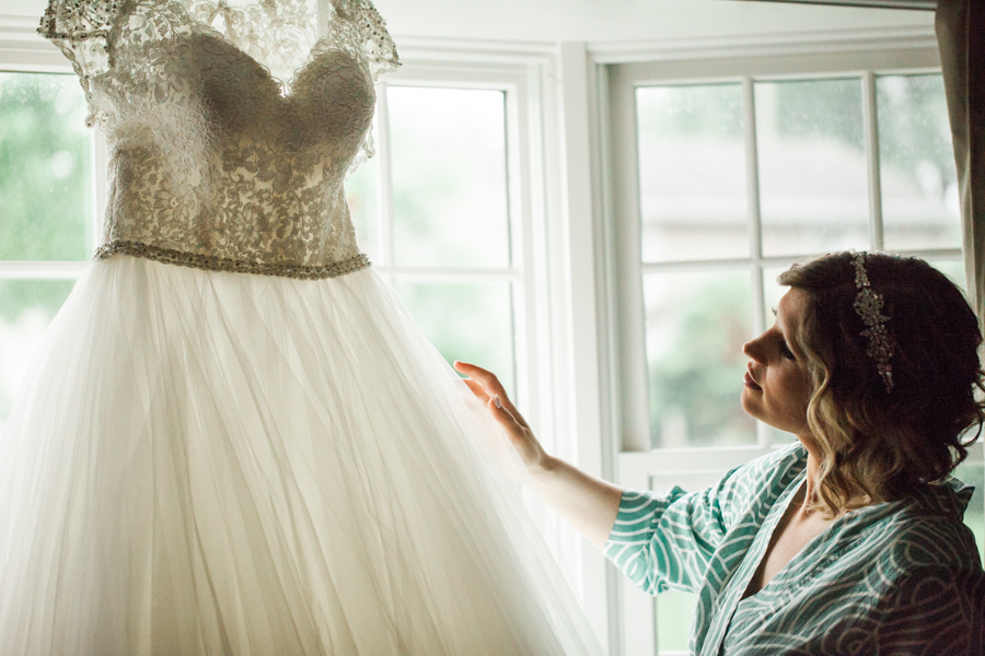 bride with dress, getting ready, nj wedding photo