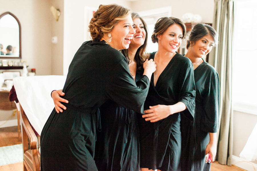 the bridesmaids getting ready