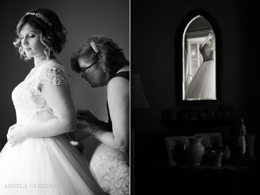 black and white, getting ready, wedding dress reflection