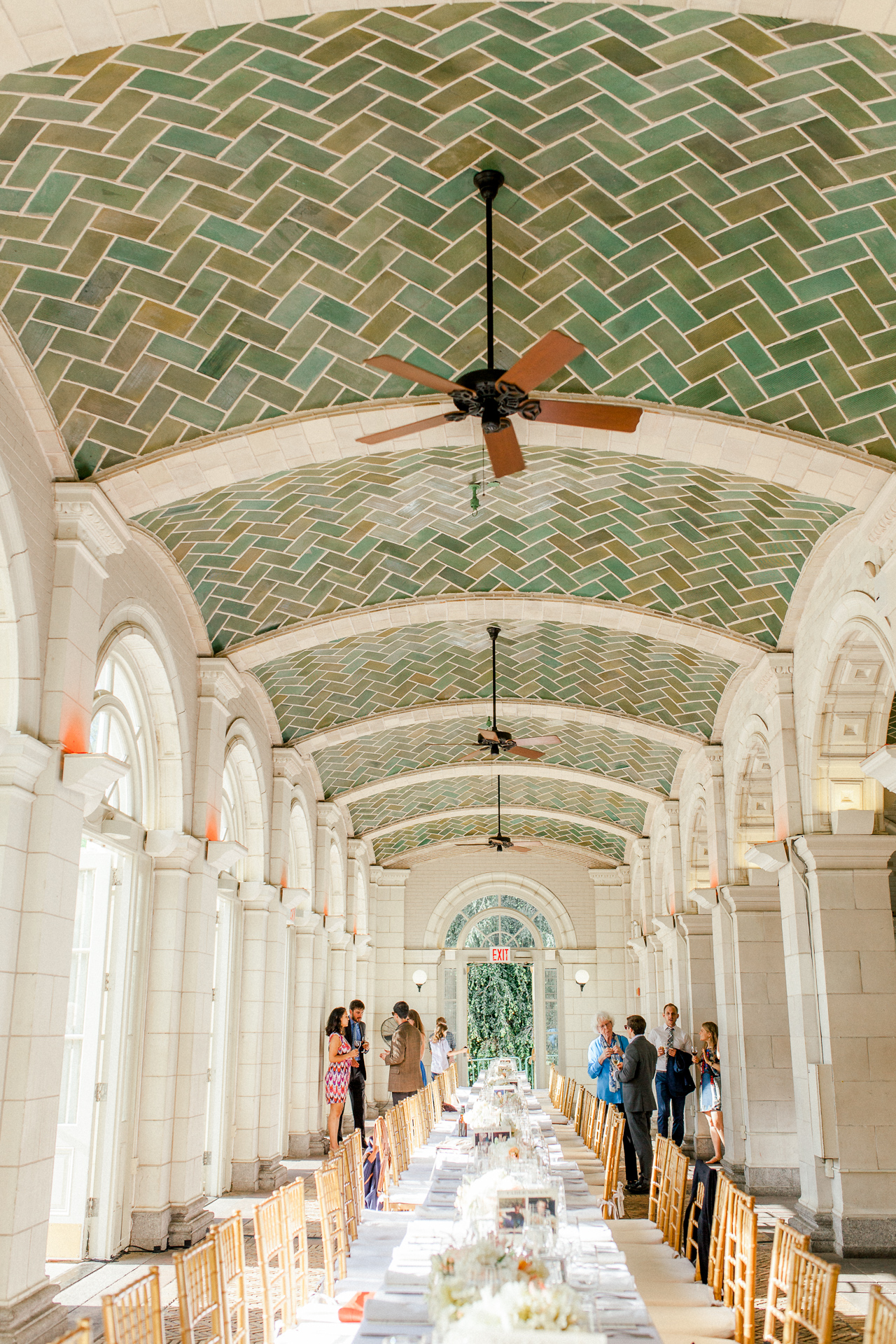 Gorgeous venue with lovely teal and warm tones tile ceilings, very unique for a location in NYC.
