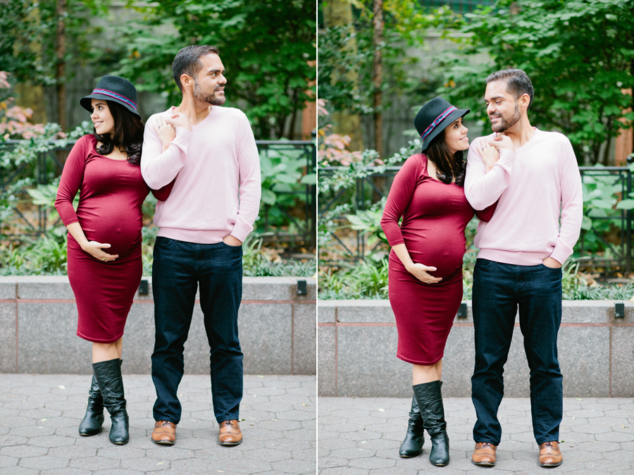 Lifestyle couple Maternity Session in New York City. Maternity outfit inspiration ideas for trendy and fashionable parents