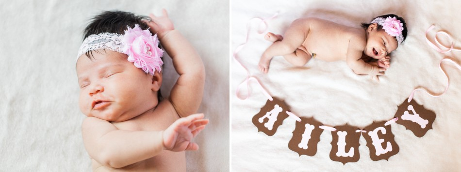 Baby photo session name banner laughing dancing girl