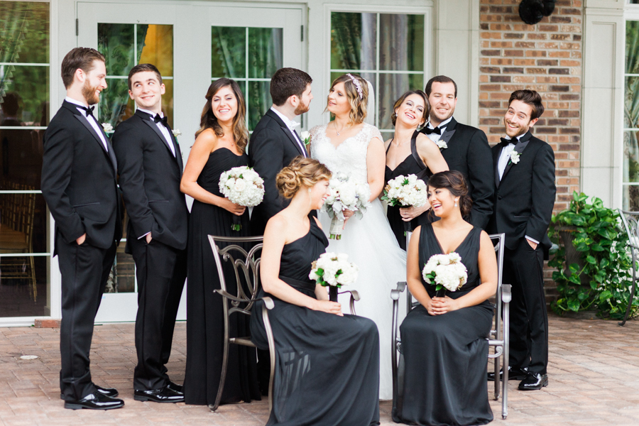 bridal party portrait laughing